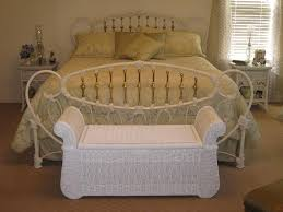 White Wicker King Size Bedroom Set Bedroom White Iron Bed And Rattan Bench Wicker Bedroom Furniture