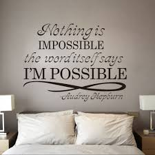 Wall Decal For Living Room New Design Audrey Hepburn Motto Nothing Is Impossible Home