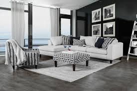 White Fabric Sectional Sofa by 2 Pc Joya Collection
