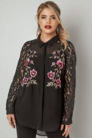 yours london black floral embroidered shirt with lace sleeves