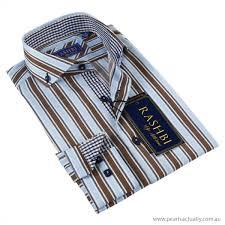 men u0027s shirts rashbi men u0027s blue and brown striped dress shirt