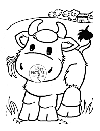 little cow eating grass coloring page for kids animal coloring