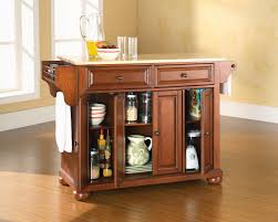 crosley furniture alexandria natural wood top kitchen island in