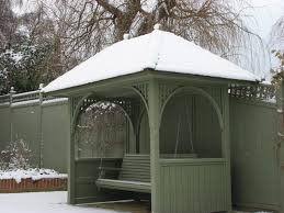 painted seating arbour perfect in any weather garden trellis
