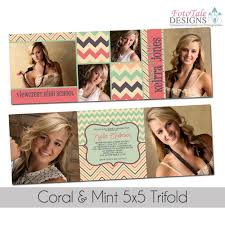 tri fold graduation announcements coral and mint 5x5 trifold graduation announcement custom design