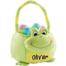 plush easter basket personalized plush easter baskets frog walmart