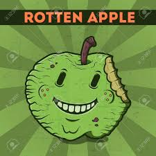 green halloween background funny cartoon malicious green monster apple on the scratchy