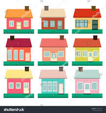 houses vector icons set colorful flat stock vector 480870973