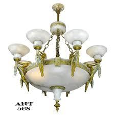 Art Deco Lighting Fixtures Art Deco Grand Alabaster Bowl Chandelier Antique Eight Light