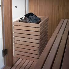 residential sauna wooden for indoor use bambooki blu bleu