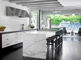 modern kitchen without cabinets modern white kitchen with dimensional tile