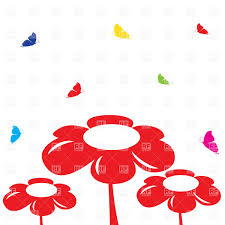 simple red flowers and butterflies vector image 22156 u2013 rfclipart