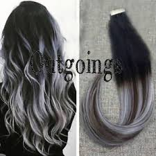 silver hair extensions balayage in human hair extensions ombre black brown silver