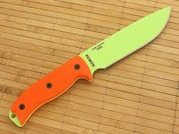 esee 6p vg venom green and orange g10 plain edge blade fixed knife