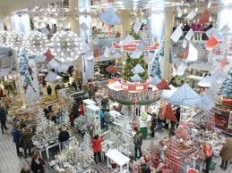 christmas decorations at cologne department stores and in