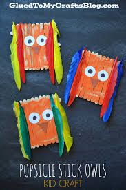 popsicle stick owls kid craft owl kids owl and craft