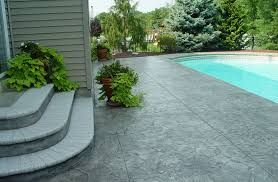 Patio Floor Designs Sted Concrete Patio Stairs Ideas And Around Small Pool For