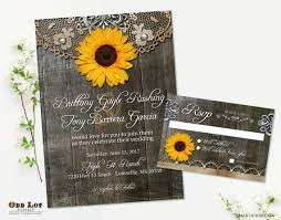 Sunflower Wedding Invitations Sunflower Wedding Invitation Set Rustic Sunflower Country