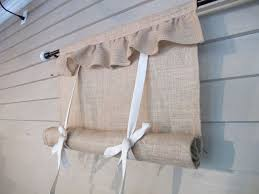 Fold Up Curtains Ruffled Burlap 48 Inch Tie Up Shade Custom Made To
