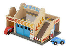 Plans For Wooden Toy Garage by Amazon Com Melissa U0026 Doug Service Station Parking Garage With 2