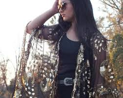 Gold Sequin Cardigan Sequin Duster Etsy