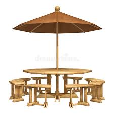 umbrella table and chairs wooden patio furniture stock illustration illustration of umbrella