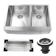 33 inch farmhouse stainless steel apron kitchen sink set double