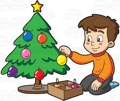 decorate christmas tree a boy decorating a christmas tree clipart vector