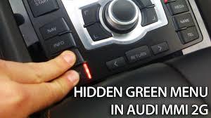 hidden green menu in audi mmi 2g a4 a5 a6 a8 q7 multi media
