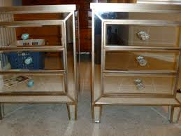 nightstand simple mirrored accent table with single drawer and