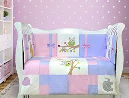 amazon com lappi baby owl u0026 elephant crib bedding set for girls