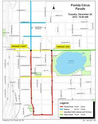 Map Of Orlando Fl by Florida Citrus Parade Road Closure Map City Of Orlando