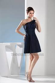 simple short dark navy one shoulder party homecoming dresses
