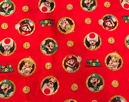 mario wrapping paper mario bros fabric etsy