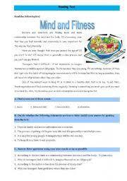 english teaching worksheets fitness