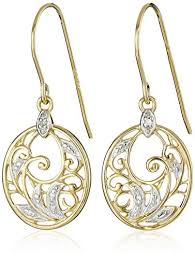 gold plated earrings 18k yellow gold plated sterling silver diamond accent