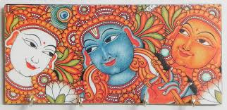 mural on wood radha krishna and gopini mural deco painting on a wooden key rack