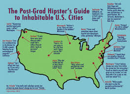Map Of New Orleans Usa by A Witty Map Of Hipster Urban Habitats In The Lower 48 Panethos