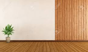 Wall Wood Paneling by Empty Room With Wood Paneling And White Wall 3d Rendering Stock