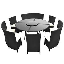 black garden sets round table and chairs in black polirattan 12