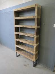 industrial chic reclaimed custom steel and wood bookcase shelving
