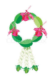 fresh flowers with hibiscus flowers garland stock vector