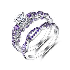 silver bridal rings images Round cut amethyst 925 sterling silver bridal sets lajerrio jewelry jpg