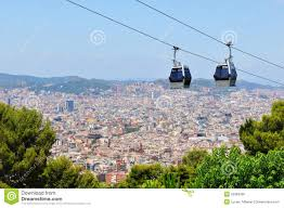 Cable Car Map Cable Car In Barcelona Spain Royalty Free Stock Image Image