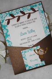 monkey invitations baby shower turquoise and chocolate brown jungle chic monkey baby shower