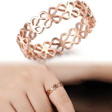 gold cute rings images Titanium steel jewelry rose gold color hollow out cute clover ring jpg