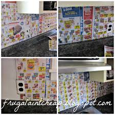 Backsplash Ideas For Kitchens Inexpensive Frugal Ain U0027t Cheap Kitchen Backsplash Great For Renters Too