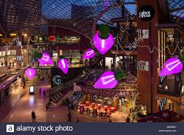 christmas decorations in cabot circus shopping mall bristol stock