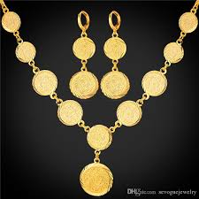 coin jewelry necklace images 2018 hot old coin earrings necklace set new arrival 18k real gold jpg