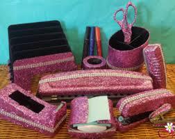 Colorful Desk Accessories Glitter Office Supplies 5 Set School Supplies Bling